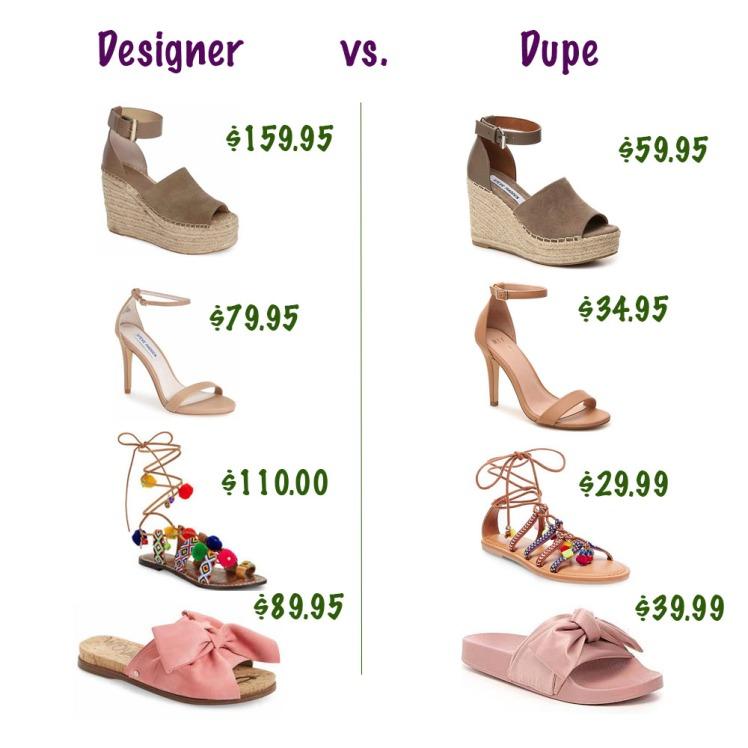 Designer dupe shoes